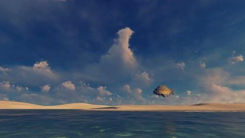 4K Wüste und Fisch - surreal Szene