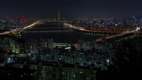Aerial Korea Building and Cityscape at Seoul Night