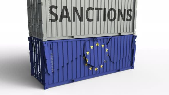 Thumbnail for Container with SANCTIONS Text Breaks Container with Flag of EU