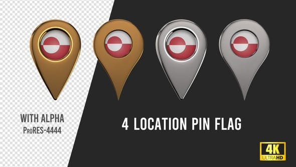 Thumbnail for Greenland Flag Location Pins Silver And Gold