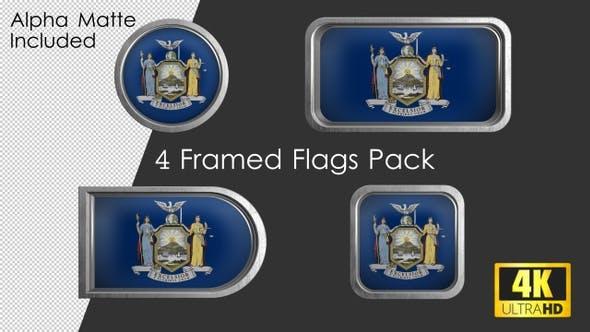 New York State Flag Framed