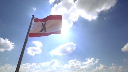 Berlin City Flag on a Flagpole V4