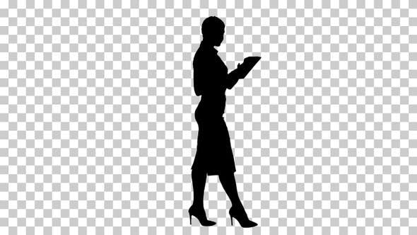 Silhouette Businesswoman walking, Alpha Channel