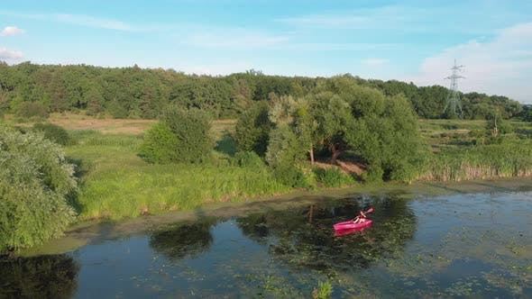 Thumbnail for Active adventures on water in summer. Water travelling. Sport rowing