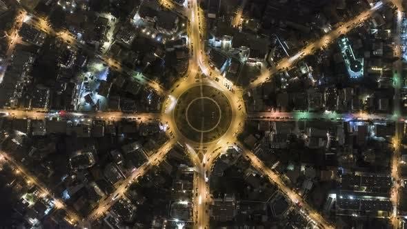Kreisverkehr von oben