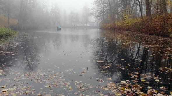 Thumbnail for Fog Over the Lake in the Autumn Park.