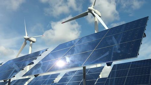 Types of Ecological Clean Power with Solar Panels Cells and Wind Turbines Loop