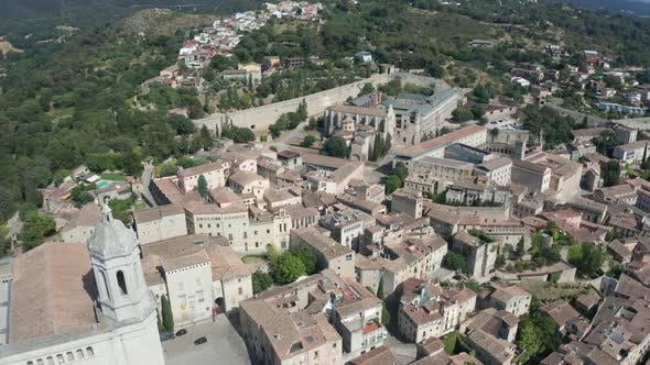 Thumbnail for Drone View of Girona with Cathedral of Santa Maria