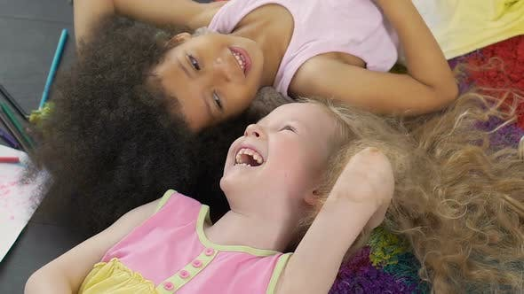 Thumbnail for Mixed Race Best Friends Smiling And Enjoying Time Together, Anti-racism Symbol
