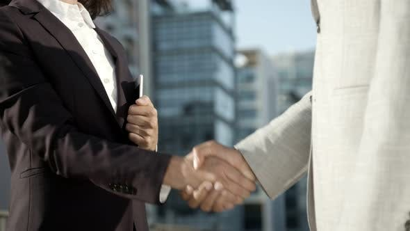 Cover Image for Colleagues Shaking Hands on Street
