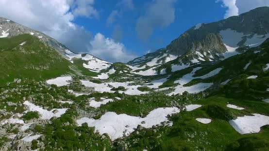 Thumbnail for Mountain Pass With Glaciers And Green Grass In Mountains Of Caucasus