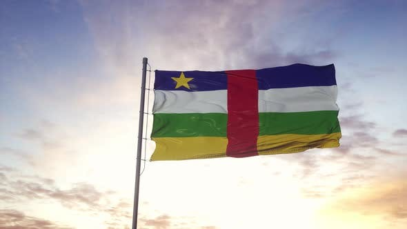 Central African Republic Flag Waving in the Wind Dramatic Sky Background