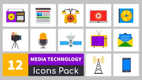 12 Media Technology Icons Pack