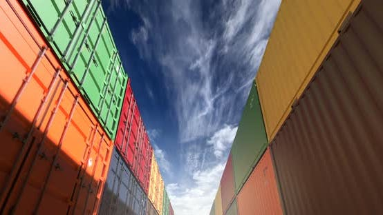 Cover Image for Stacks of Shipping Containers Under Afternoon Cloudscape Seamless Loop