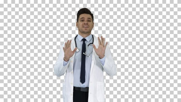 Thumbnail for Friendly and Playful Male Doctor and Confident Talking to Camera