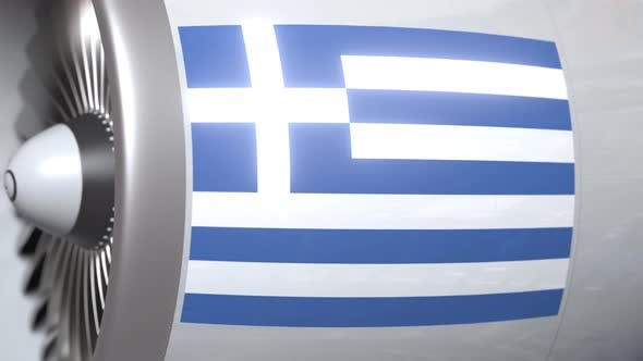 Thumbnail for Airplane Engine with Flag of Greece