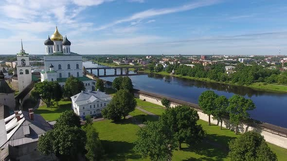 Thumbnail for Aerial of Pskov Kremlin and Trinity Cathedral