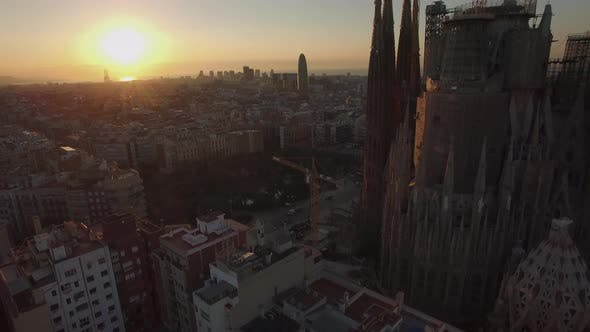 Thumbnail for Aerial View of Barcelona with Sagrada Familia at Sunset