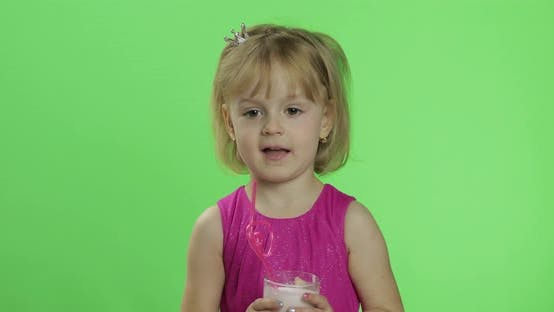 Thumbnail for Happy Young Child Waving in Pink Dress with Milkshake Cocktail. Chroma Key