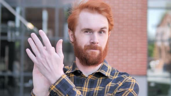 Thumbnail for Applauding Redhead Beard Young Man, Clapping