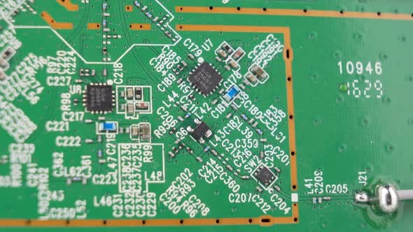 Macro Background Shot of Old Green Motherboard Components