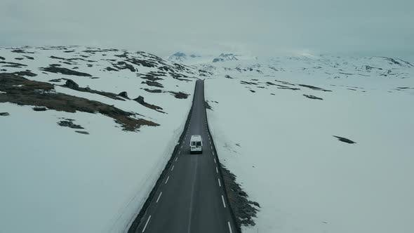 Drone Shot of Camper RV on Winter Mountain Road