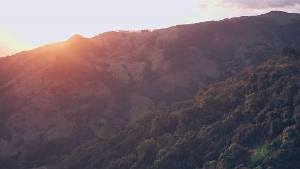 Rainforest scenery at sunrise, Monteverde Cloud Forest, Costa Rica. Aerial drone view