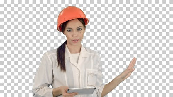 Thumbnail for Smiling female engineer with digital tablet, Alpha Channel