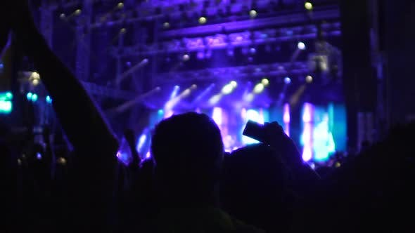 Thumbnail for Silhouettes of Many People Applauding and Filming Video on Phone at Concert