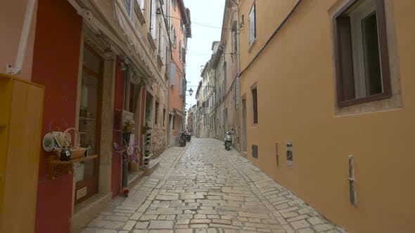 Thumbnail for Paved street with stores and houses