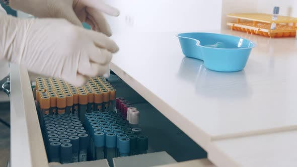Storage of Blood Test Tubes. The Lab Technician Opens the Drawer for Storing Test Tubes and Takes