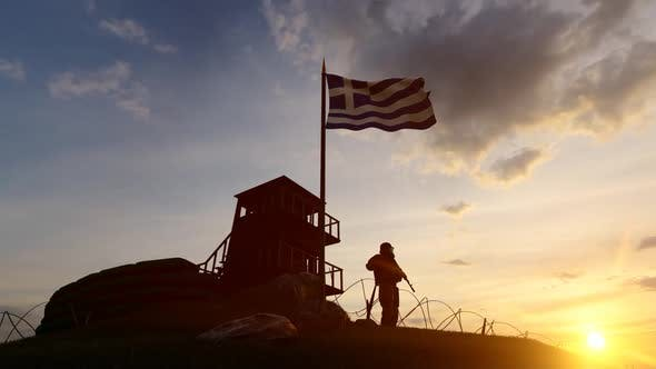 Thumbnail for Greek Soldier Watching the Border at Sunset