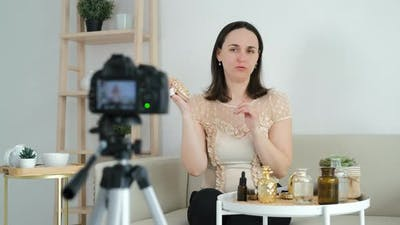 Young Influencer Woman Filming Beauty Video Blog