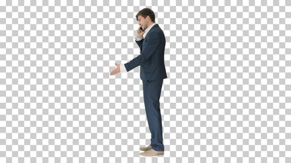 Thumbnail for Stressed and angry businessman talking on the phone, Alpha Channel