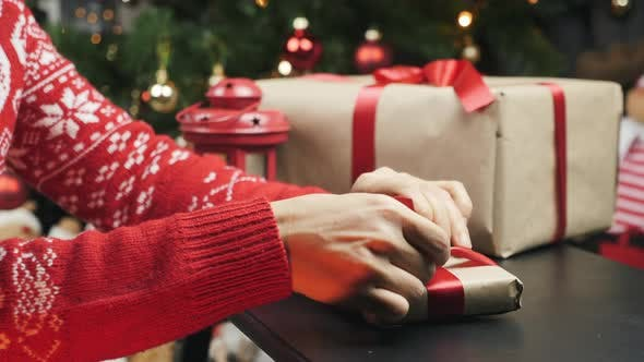 Thumbnail for Woman hands are tying red bow on Christmas gift
