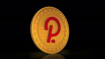 Polkadot cryptocurrency golden coin 3d