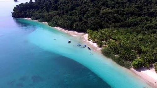 Virgin Unspoiled Caribbean Tropical White Sandy Beach Aerial Drone View