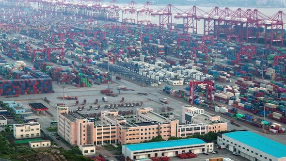 Thumbnail for Yangshan Shanghai Container Port Terminal and Logistics Center Timelapse Zoom Out