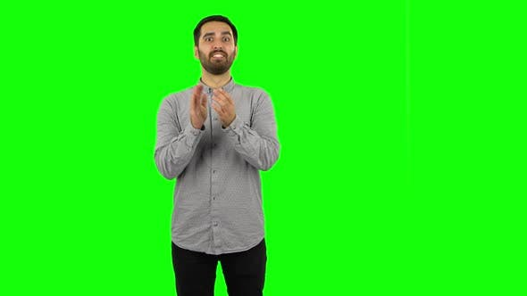 Thumbnail for Brunette Guy Is Clapping His Hands with Wow Happy Joy and Delight. Green Screen