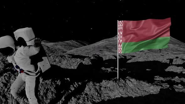 Cover Image for Astronaut Planting Belarus Flag on the Moon