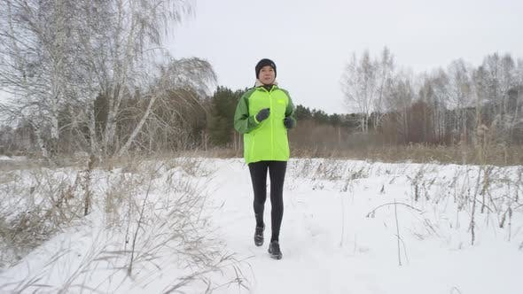 Thumbnail for Active Woman Running in Morning in Winter