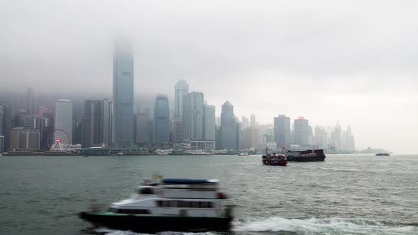 Thumbnail for Hong Kong Central Western Skyscraper Top in Mist