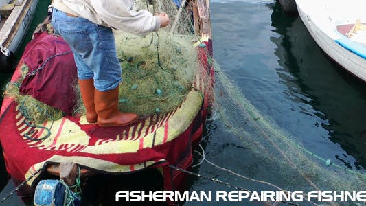 Thumbnail for Fisherman Repairing Fishnets