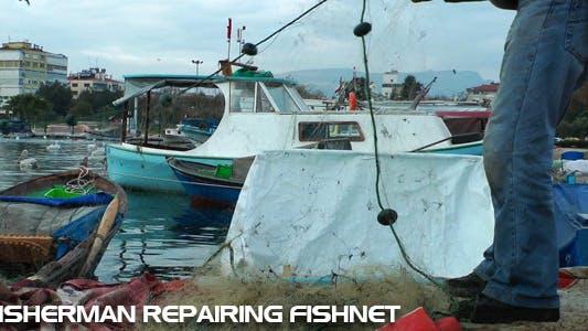 Thumbnail for Fisherman Is Repairing Fishnets