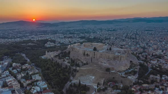 Thumbnail for Athens, Greece Aerial Drone Hyper Lapse Over Acropolis at Sunset