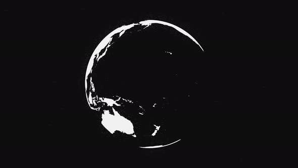 Black and white Earth planet rotating, isolated on black background