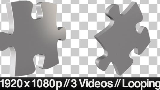 Thumbnail for 3 Isolated Puzzle Pieces Rotating - LOOP - ALPHA