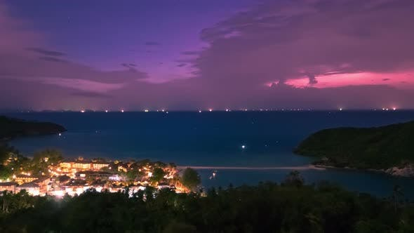 Cover Image for Night View of Sunset with Blue Sky at Tropical Beach