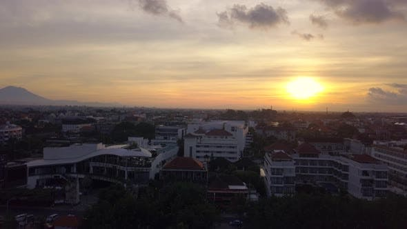 Aerial View of Beautiful Beach, Hotels, Bali, Kuta. Beautiful View Nice Tropical Beach From the Air.