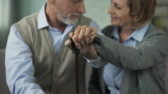 Cover Image for Aged Couple Sitting Together, Holding Hands on Walking Stick, Happy People